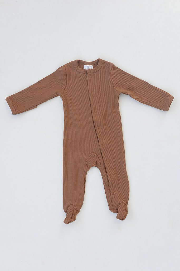 Mustard Organic Cotton Ribbed Footed Snap One Piece