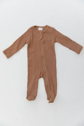 Mustard Organic Cotton Ribbed Footed Zipper One Piece