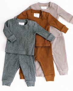 Taupe Ribbed Two Piece Cozy Set