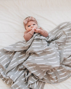 Grey Dash Muslin Swaddle Blanket