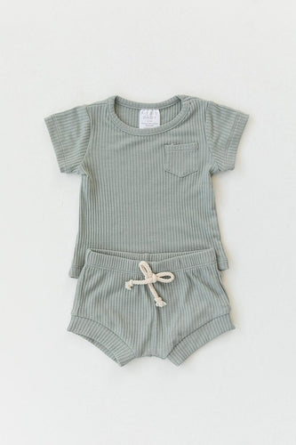 Sage Ribbed Pocket Tee + Short Set