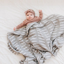 Load image into Gallery viewer, Grey Dash Muslin Swaddle Blanket