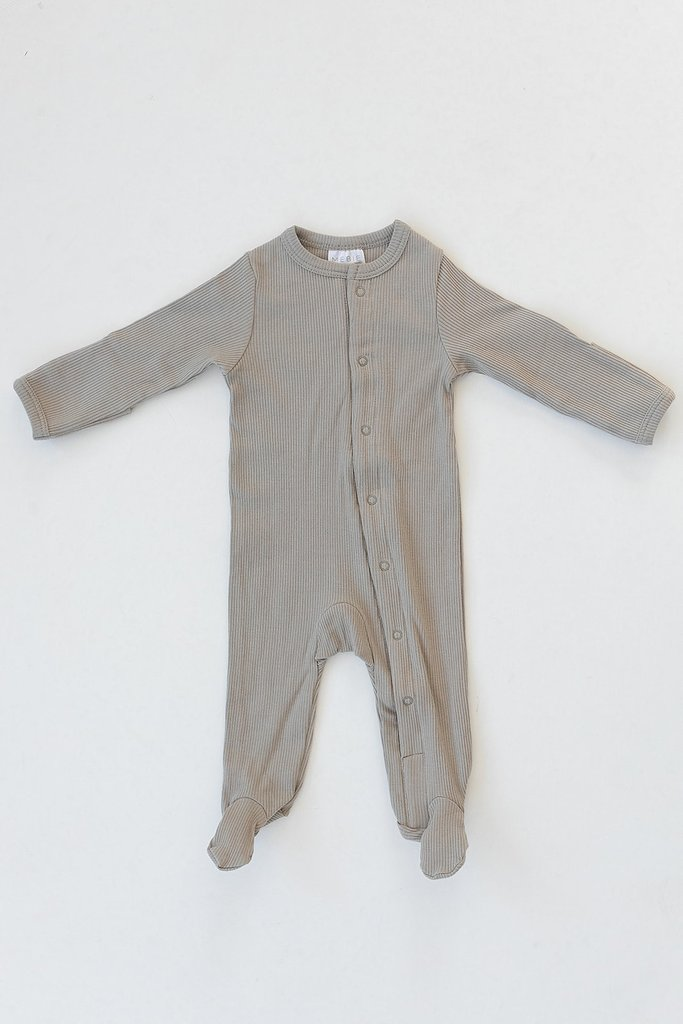 Sagebrush Organic Cotton Ribbed Footed Snap One Piece