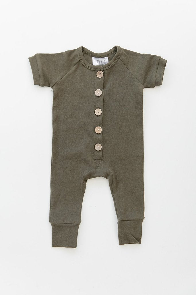 Olive Short Sleeve Cotton Button Romper