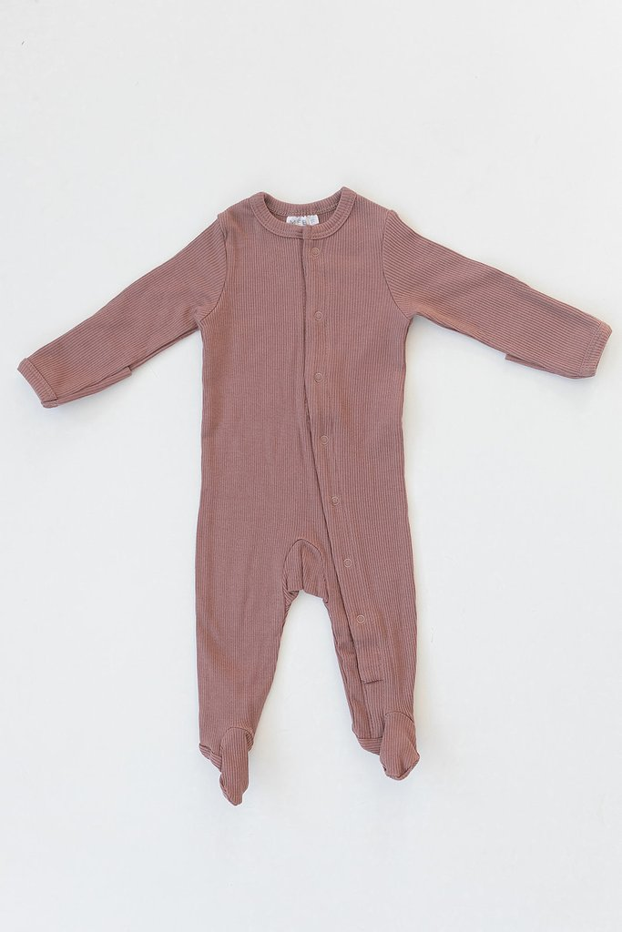 Dusty Rose Organic Cotton Ribbed Footed Snap One Piece