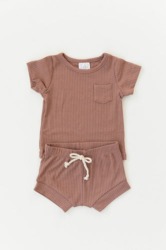 Dusty Rose Ribbed Pocket Tee + Short Set