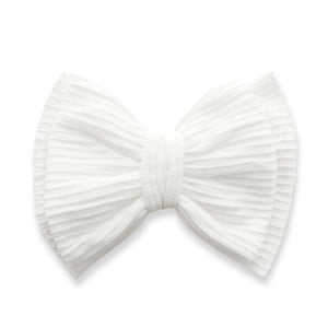 White Ribbed Bow Clip