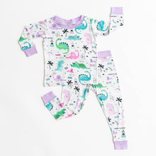 Load image into Gallery viewer, Purple Dinosaurs Two Piece PJ Set