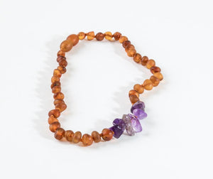 Raw Cognac Amber + Raw Amethyst Necklace 12""