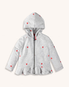Heather Grey Hearts Ruffle Hoodie