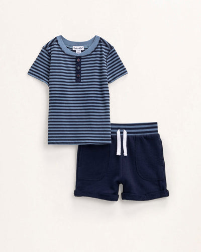 Blue Shadow Stripe Henley Set