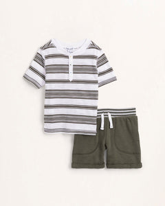 Army Striped Henley Baby Set
