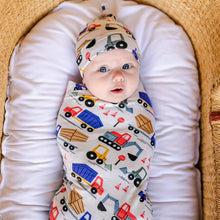 Load image into Gallery viewer, Construction Bamboo Swaddle & Headband Set