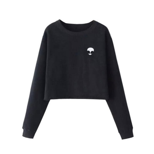 Ladies Long Sleeve Alien T-Shirt Black
