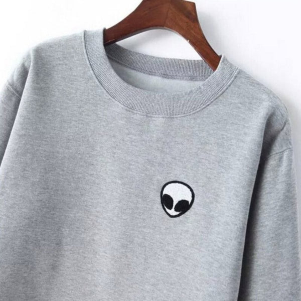 Ladies Long Sleeve Alien T-Shirt Gray