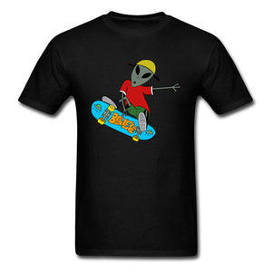Men's White Skateboarding Alien T-Shirt