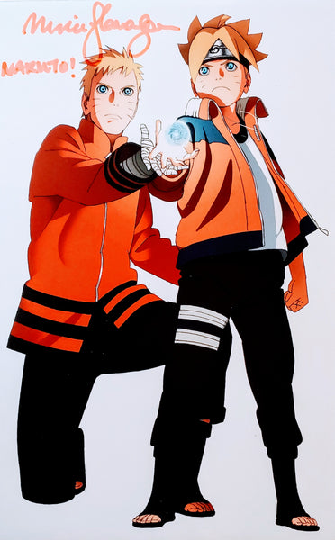 Maile Flanagan signed Naruto and Boruto Foam Print