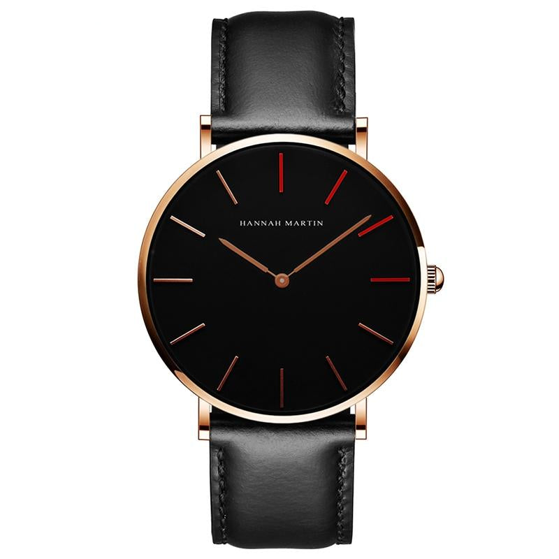 DIGI RED Dial Black Gold Leather Watch