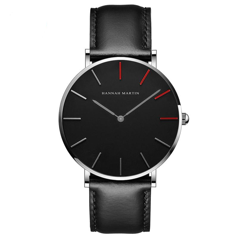 DIGI RED Dial Black White Leather Watch