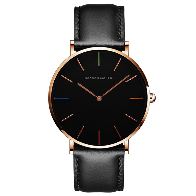 DIGI Color Dial Black Gold Leather Watch