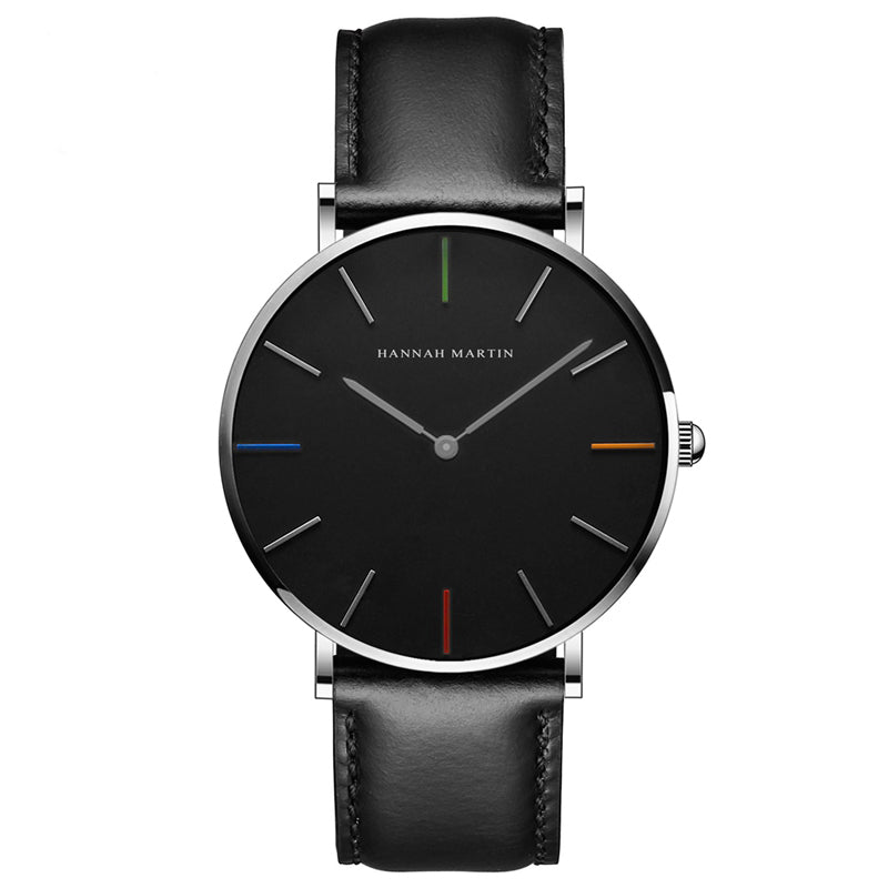DIGI Color Dial Black White Leather Watch