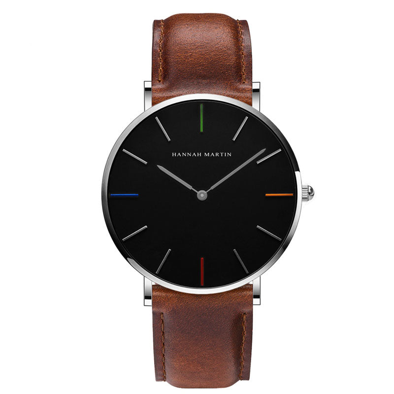 DIGI Color Dial Brown White Leather Watch