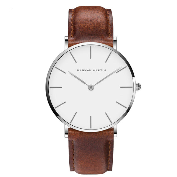 DIGI Brown White Leather Watch