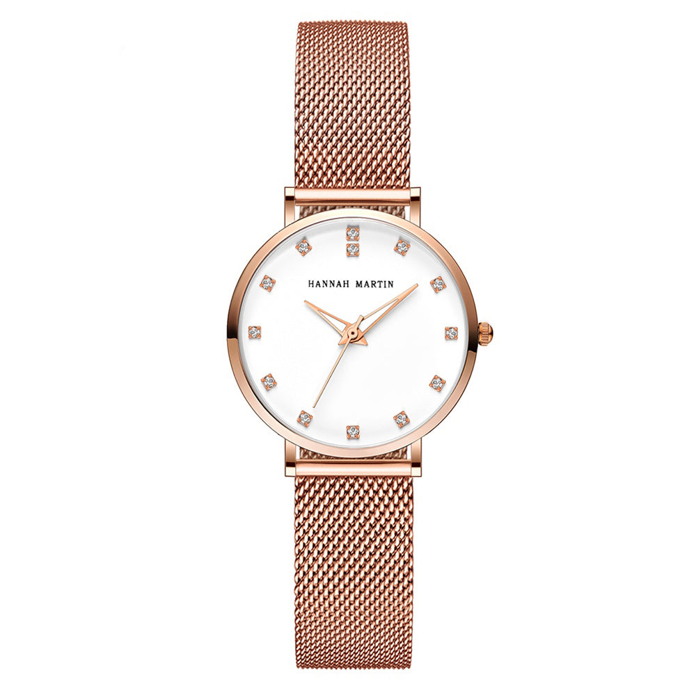 Andy Women Steel Belt Diamond Watch WHITE