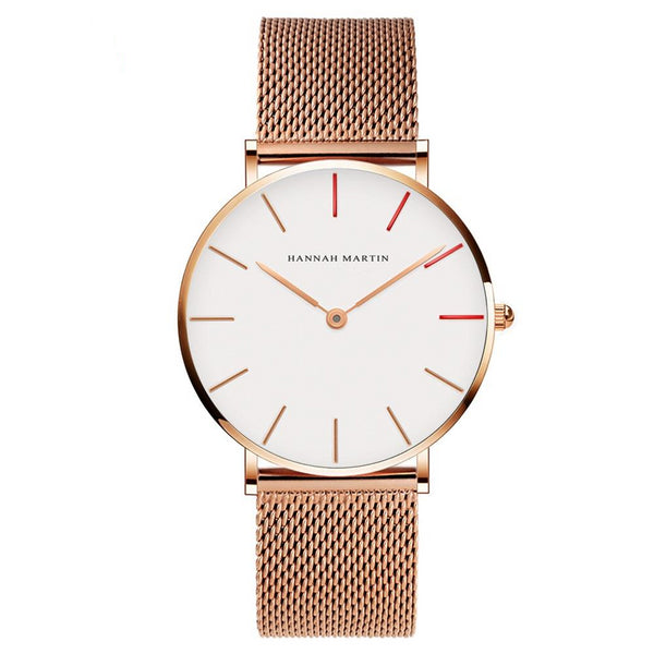 DIGI Red Dial Gold Mesh Watch