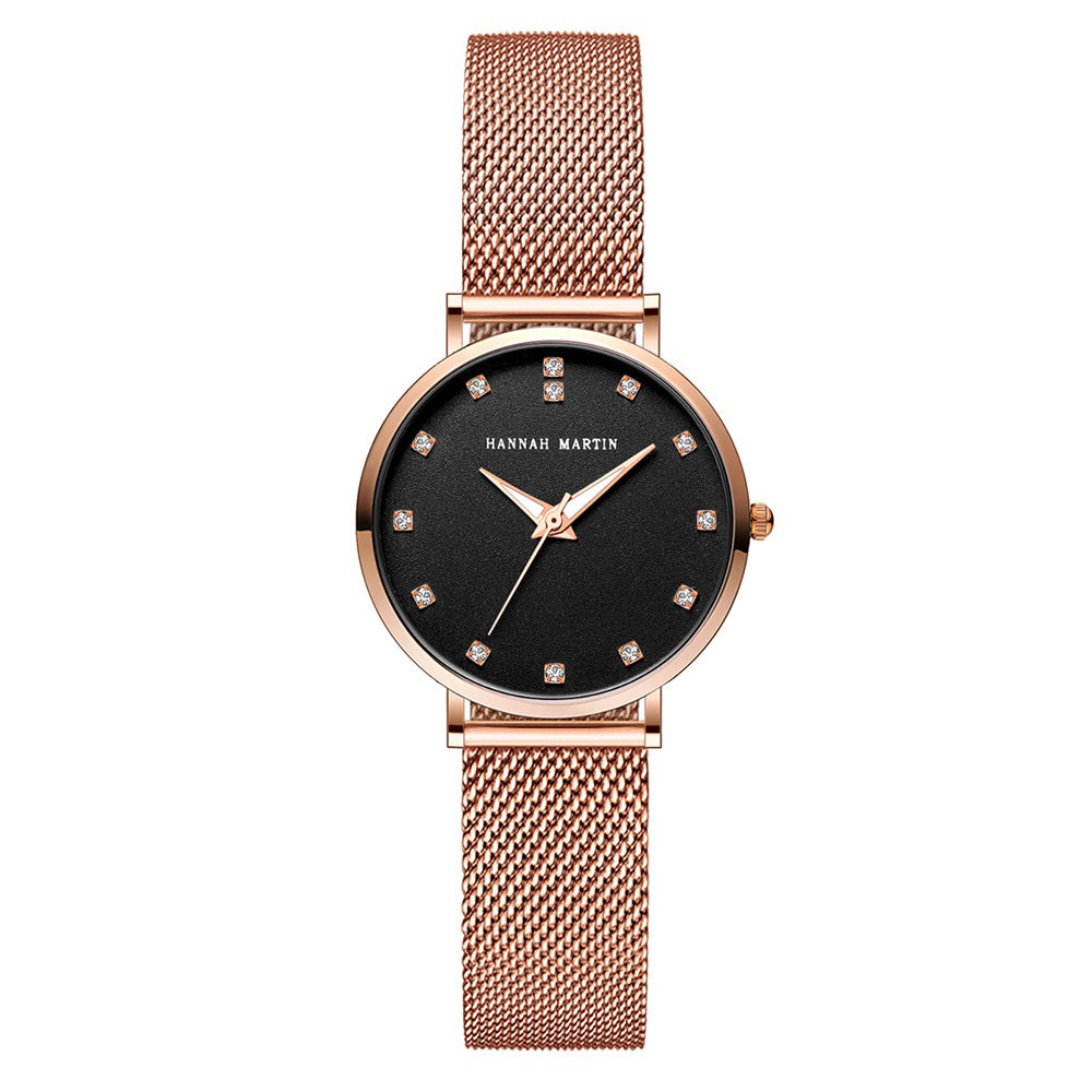 Andy Women Steel Belt Diamond Watch BLACK
