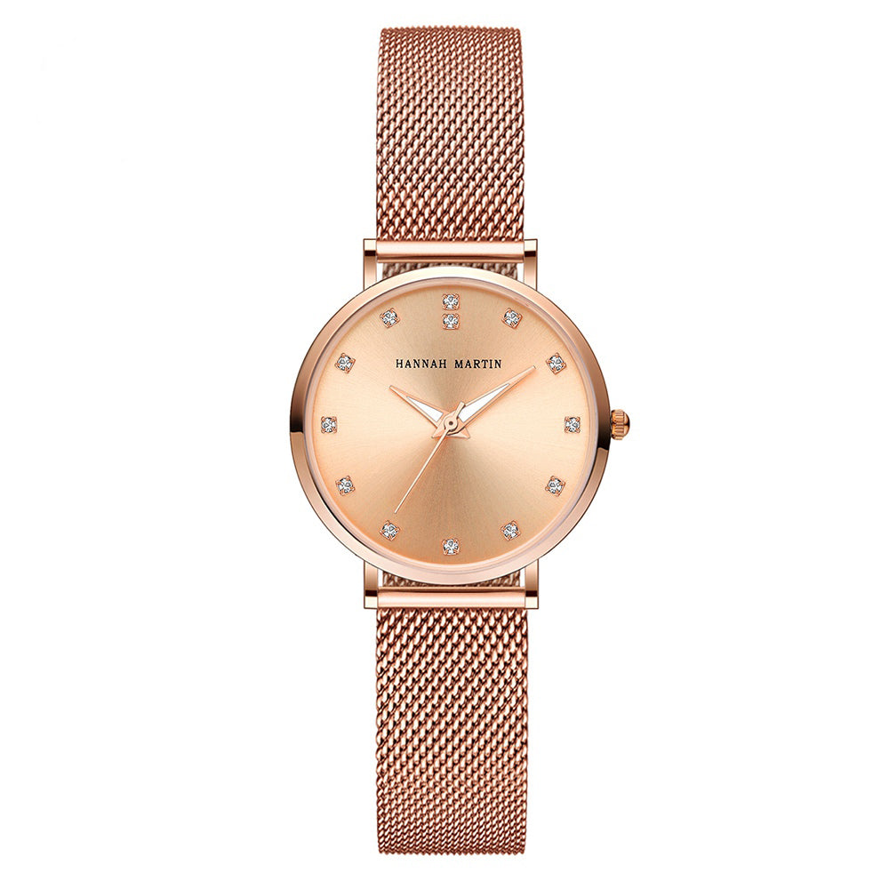 Andy Women Steel Belt Diamond Watch ROSEGOLD