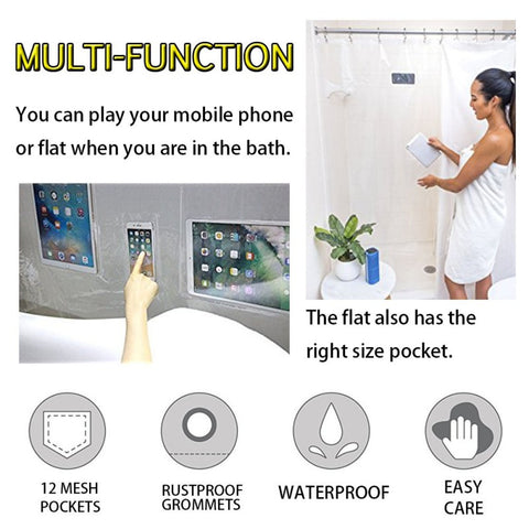 Waterproof iPad Mount - Curtain Liner which holds Tablet or Phone