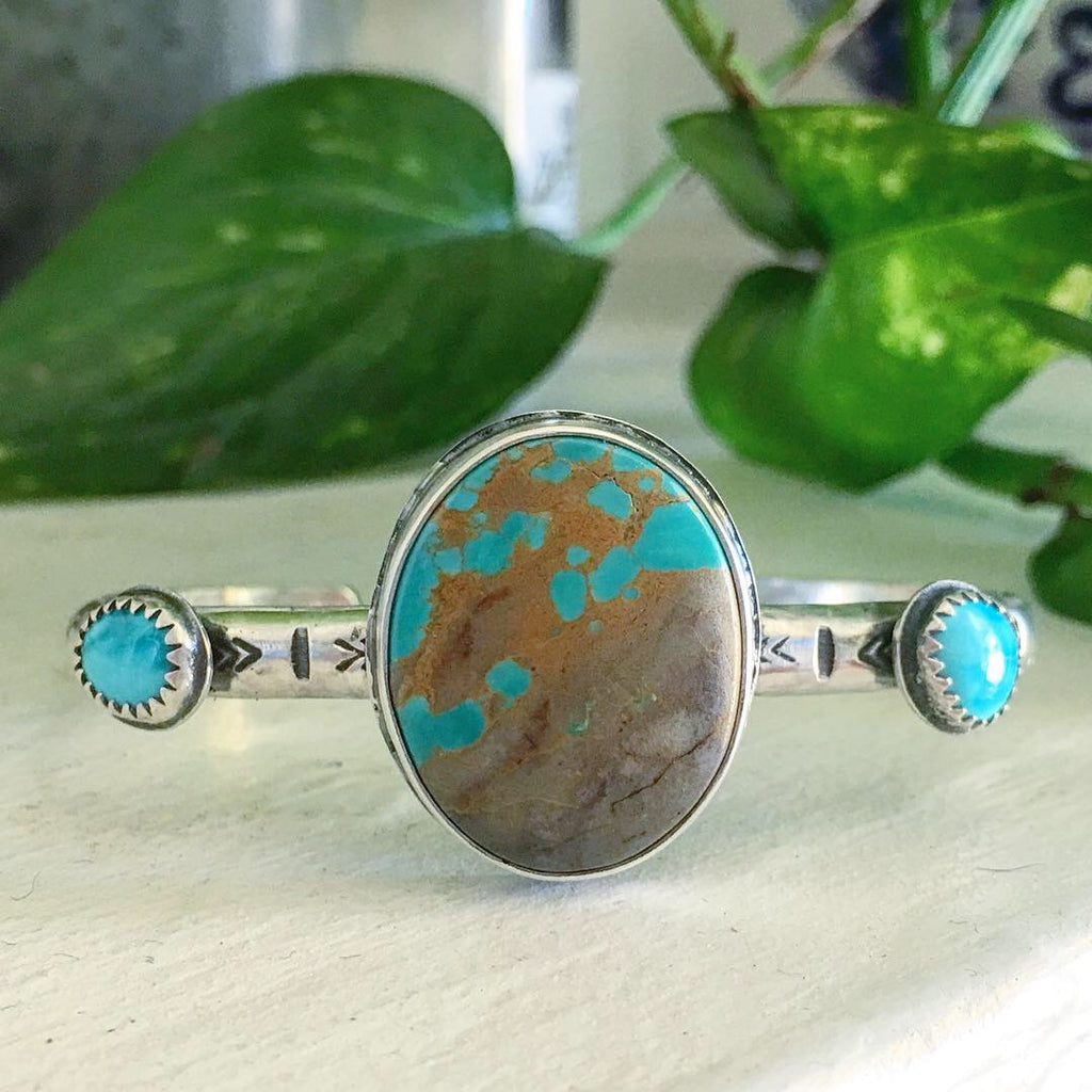 Hand Stamped Turquoise Cuff