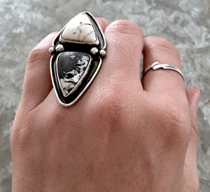 White Buffalo Triangles Ring