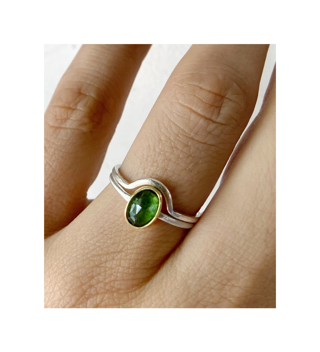 Green Tourmaline & Solid 18K Gold and Sterling