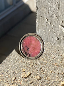 Rhodonite Circle Ring