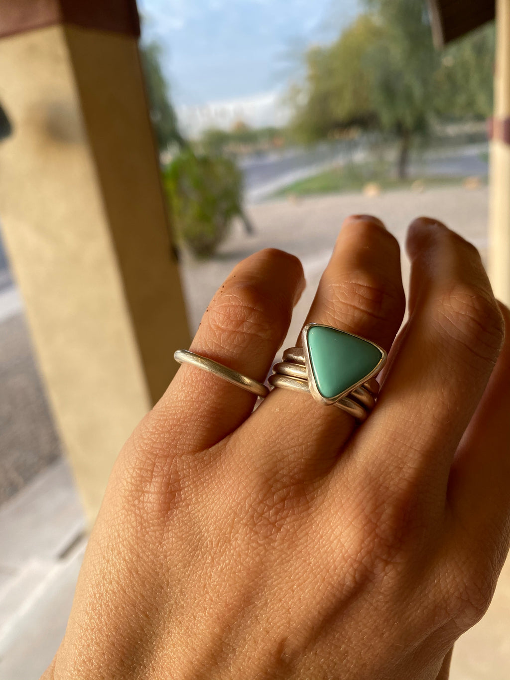 Turquoise triangle stacker ring