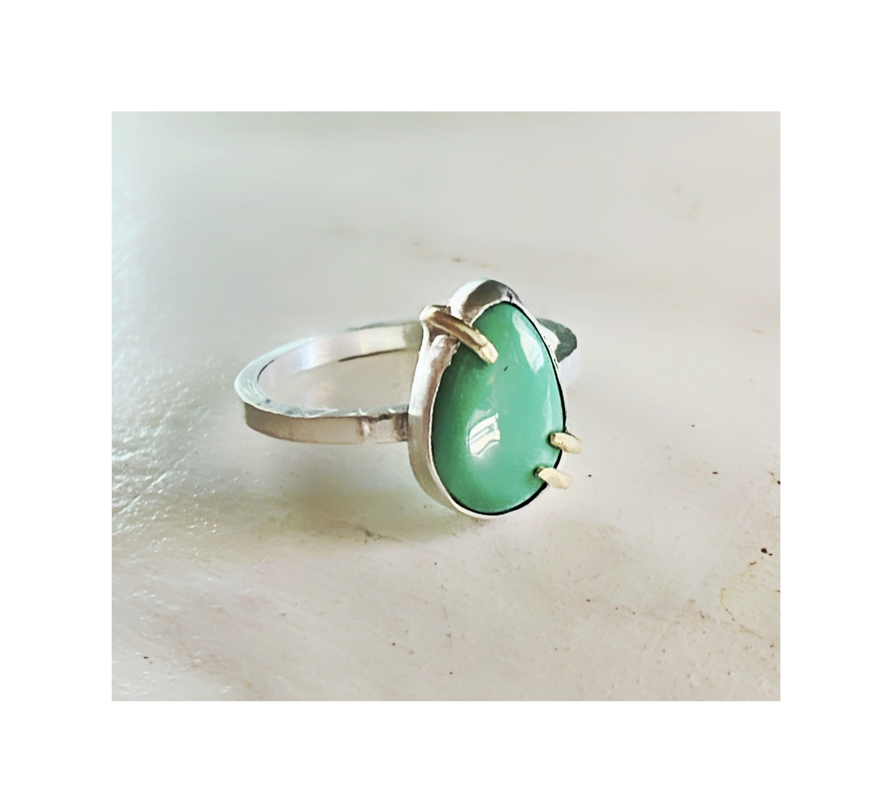 Chrysoprase Teardrop Ring