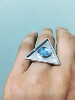 Aquamarine Triangle Ring