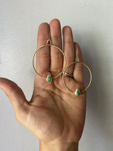 Brass and Turquoise Hoops