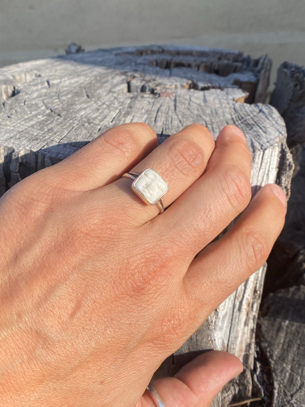 Square Moon Face Ring
