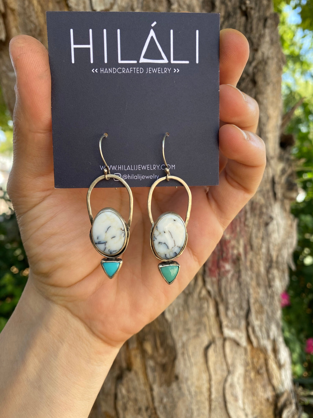 Dendritic Agate and Turquoise Earrings