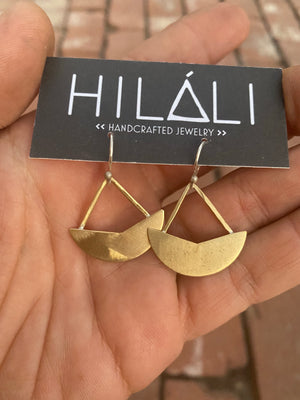 Little brass boat earrings