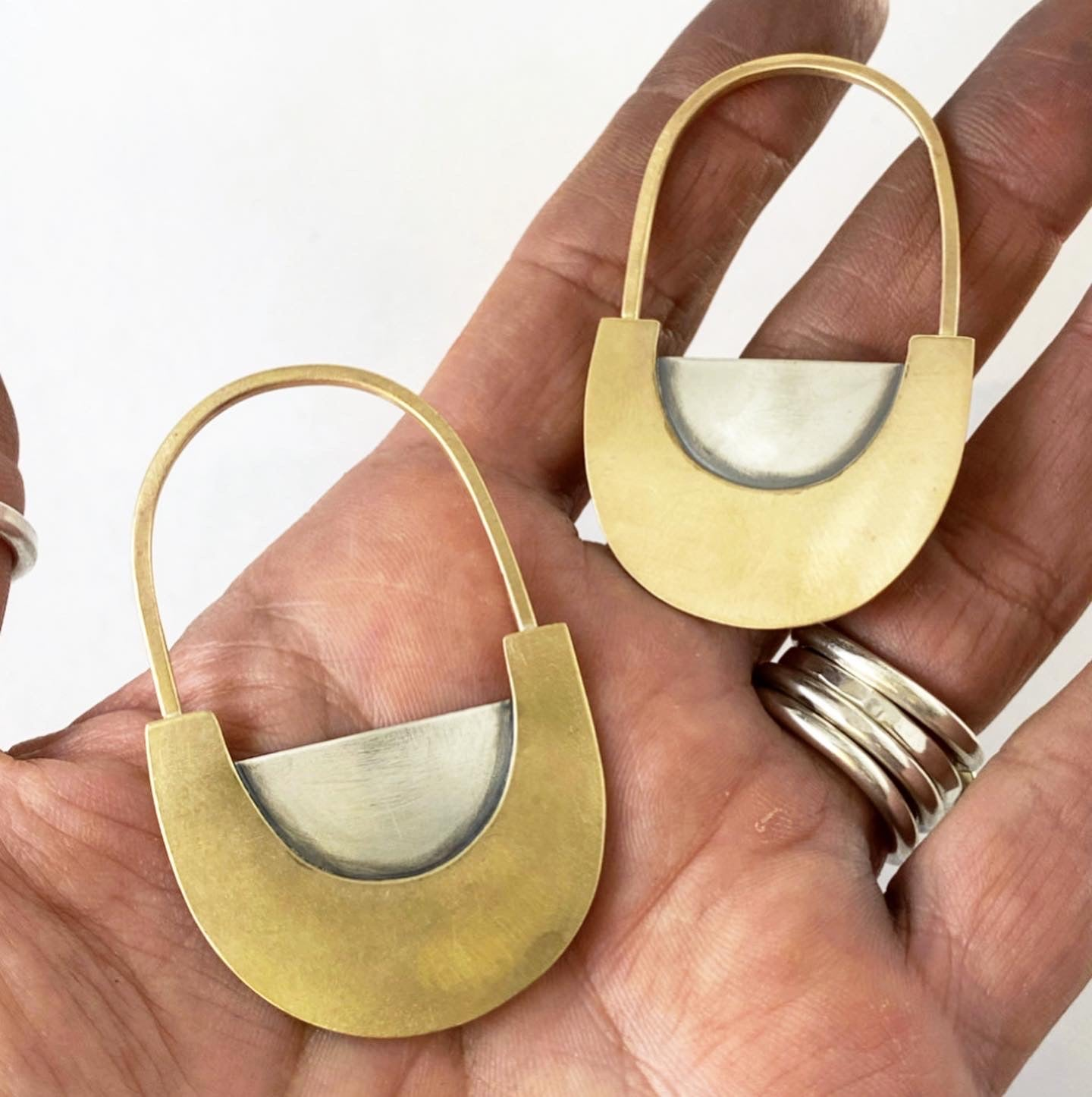 Reversible Mixed Metal Statement Earrings