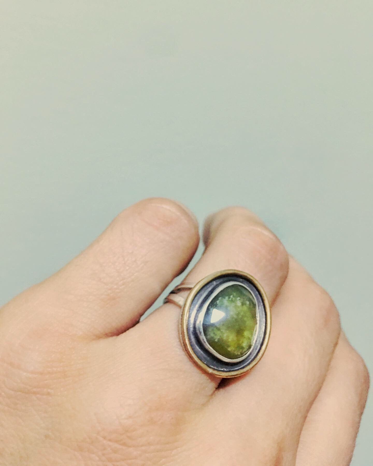 Green Sapphire Shadow Box Ring