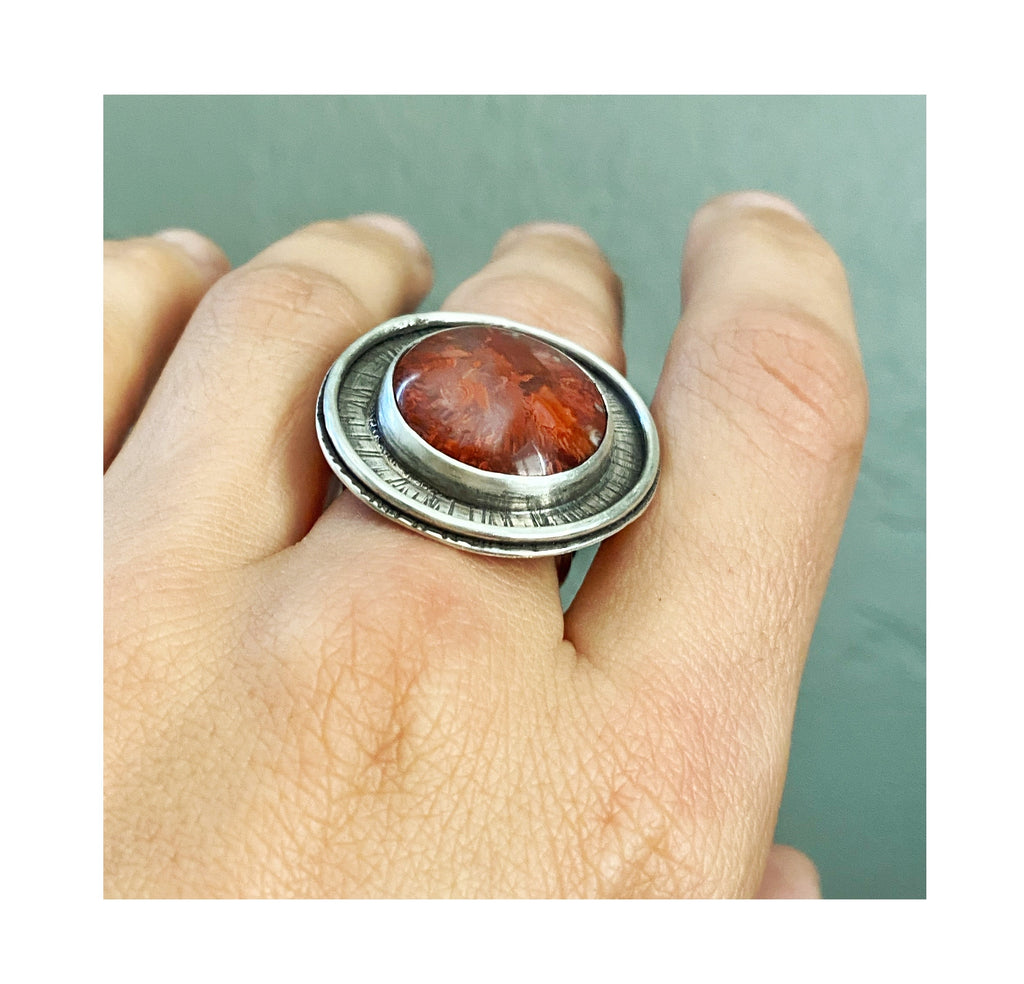 Fossil Red Horn Coral Ring