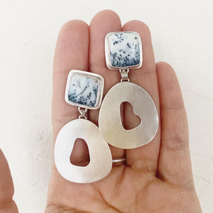 Dendritic Agate Squares Earrings