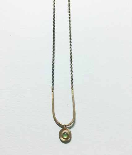 Brass U necklace with Jade