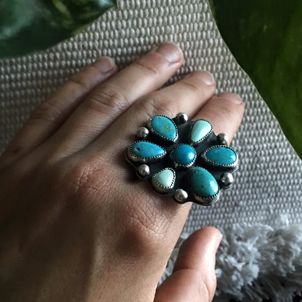Custom Turquoise Flower Ring