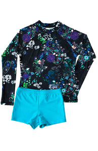 Ellenny Swim Girls Long Sleeve Sun Set Night Garden Flatlay